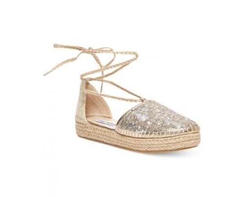 Steve Madden Tieup Lace-Up Espadrille Flats Women's Shoes