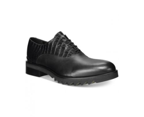 John Galliano Mixmedia Plain Toe Lug Sole Oxfords Men's Shoes