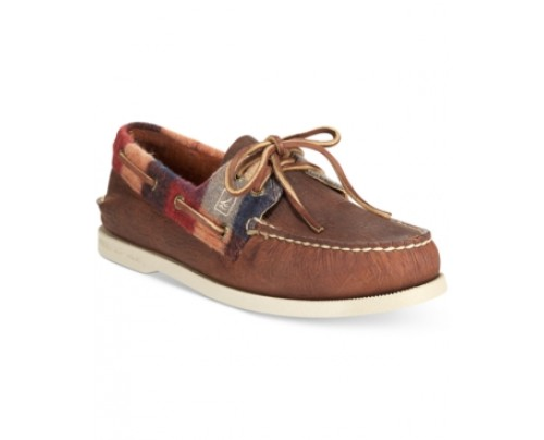 Sperry A/O 3-Eye Plaid Canvas Boat Shoes Men's Shoes