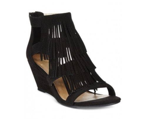 Material Girl Hannah Demi-Wedge Fringe Sandals, Only at Macy's Women's Shoes