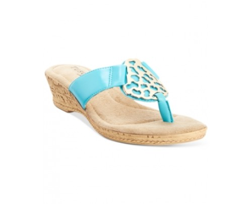 Tuscany by Easy Street Rossano Thong Wedge Sandals Women's Shoes