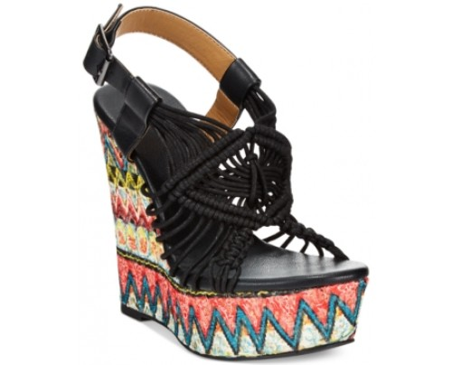 Dolce by Mojo Moxy Wildthing Woven Platform Wedge Sandals Women's Shoes