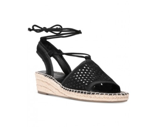 Franco Sarto Liona 2 Perforated Lace-Up Wedge Espadrille Sandals Women's Shoes