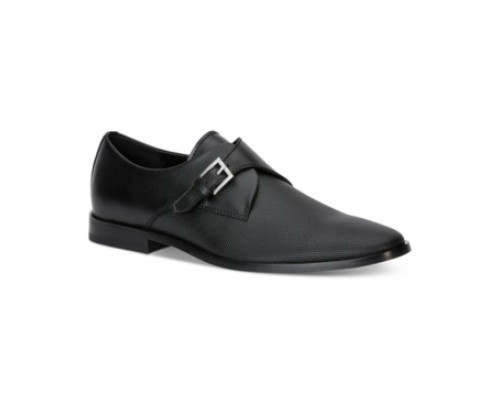 Calvin Klein Norm Embossed Leather Monk Strap Shoes Men's Shoes