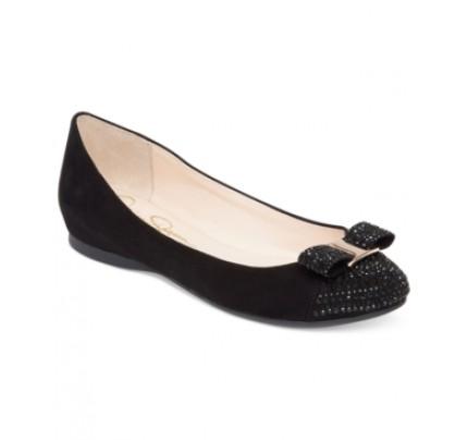 d6a5aff05b25ef Jessica Simpson Macey Rhinestone Bow Flats Women s Shoes